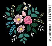 embroidery ethnic flowers and... | Shutterstock .eps vector #598175957