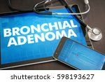 Small photo of Bronchial adenoma (cancer type) diagnosis medical concept on tablet screen with stethoscope.