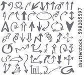 hand drawn arrows in gray. ... | Shutterstock .eps vector #598205597