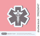 caduceus  herald's wand  wings  ... | Shutterstock .eps vector #598206947