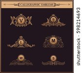 luxury logos monogram. vintage... | Shutterstock . vector #598214693