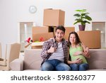 young couple of man and... | Shutterstock . vector #598260377