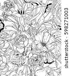 garden flowers  floral pattern  ... | Shutterstock .eps vector #598271003