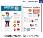 fat man with diabetes. diabetic ... | Shutterstock .eps vector #598271693