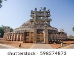 great stupa   ancient buddhist... | Shutterstock . vector #598274873