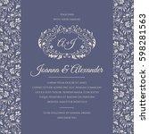 symmetric wedding invitation... | Shutterstock .eps vector #598281563