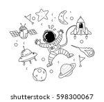astronaut in space doodle | Shutterstock .eps vector #598300067