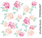 japanese style peony  | Shutterstock .eps vector #598306487