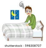 man suffers insomnia  gray... | Shutterstock .eps vector #598308707
