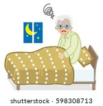 senior men suffers insomnia | Shutterstock .eps vector #598308713
