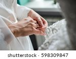 woman hand with engagement ring ... | Shutterstock . vector #598309847