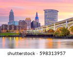 view of downtown cleveland...   Shutterstock . vector #598313957