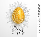 happy easter gold yellow... | Shutterstock .eps vector #598330343