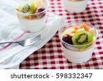 fruit salad topping on tofu... | Shutterstock . vector #598332347