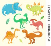 cartoon dinosaurs vector... | Shutterstock .eps vector #598339157