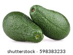 Small photo of Pair of green avocado fruit (alligator pear) isolated on white background