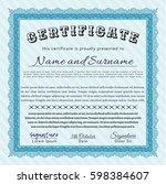 light blue certificate template ...   Shutterstock .eps vector #598384607