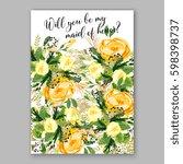 wedding invitation card... | Shutterstock .eps vector #598398737