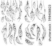 set of ethnic feathers. ethnic... | Shutterstock .eps vector #598408823