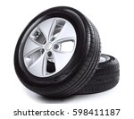 car wheels on white background | Shutterstock . vector #598411187