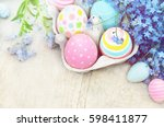 pastel painted decorated eggs ... | Shutterstock . vector #598411877