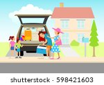 simple flat cartoon of a family ... | Shutterstock .eps vector #598421603