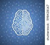 Cybernetic Brain. Pictogram Of...