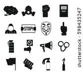 protest icons set. simple... | Shutterstock . vector #598435247