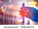 science hand holding laboratory ... | Shutterstock . vector #598444973