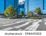 empty pavement front of modern... | Shutterstock . vector #598445303
