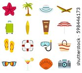 summer rest set icons in flat... | Shutterstock . vector #598446173