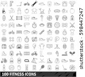 100 fitness icons set in... | Shutterstock . vector #598447247