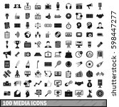 100 media icons set in simple... | Shutterstock . vector #598447277