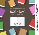 colored book background flat... | Shutterstock .eps vector #598447703