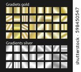 golden gradient vector set.... | Shutterstock .eps vector #598450547