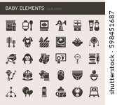 baby elements    thin line and... | Shutterstock .eps vector #598451687