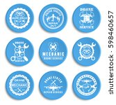 set of drone logos  repair... | Shutterstock .eps vector #598460657