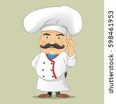 vector chef cook serving food... | Shutterstock .eps vector #598461953