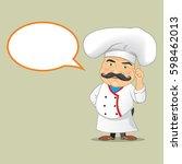 vector chef cook serving food... | Shutterstock .eps vector #598462013