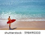 it's time for surfing  young... | Shutterstock . vector #598490333