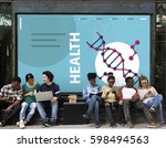 group of students dna strand... | Shutterstock . vector #598494563