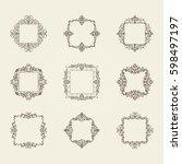 a huge rosette wicker border... | Shutterstock .eps vector #598497197