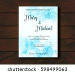 wedding invitation template... | Shutterstock .eps vector #598499063