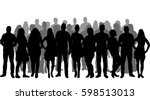 silhouette people  group  crowd ... | Shutterstock .eps vector #598513013