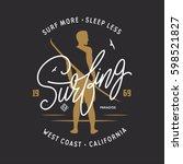 surfing related lettering... | Shutterstock .eps vector #598521827