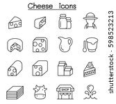 cheese icon set in thin line... | Shutterstock .eps vector #598523213