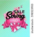spring sale colorful banner... | Shutterstock .eps vector #598523903