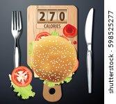 vector of calories in hamburger. | Shutterstock .eps vector #598525277