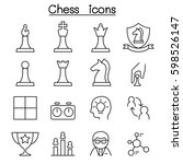 chess icon set in thin line... | Shutterstock .eps vector #598526147