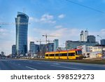 Small photo of Warsaw, Poland - March 05, 2017: The Warsaw Spire is a complex of Neo Modern office buildings in Warsaw, Poland constructed by the Belgian real estate developer Ghelamco. Main tower has 220-metre high